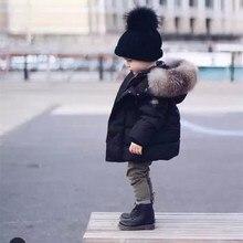 Western Style Baby Zero-4Y Snow Wear Thick Black Boys Snowsuit Hooded Big Fur Collar Children Down Winter Jacket For Girls KW-1676