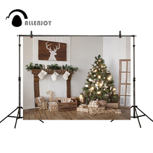 Allenjoy Christmas backdrop tree gifts fireplace elk wood floor background for photo photocall studio