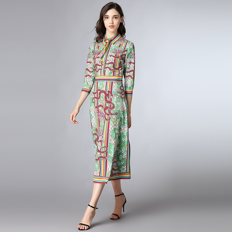 New Runway Designer 2018 spring and summer new womens lapel seven-point sleeve retro printing long paragraph A word dress