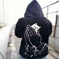 2017 Ripndip con capucha Bolsillos Gato Knit Hoody Hombres Mujeres Hip Hop harajuku Gota Ripndip Dedo Medio Cat hoody Sudaderas Con Capucha y sudaderas