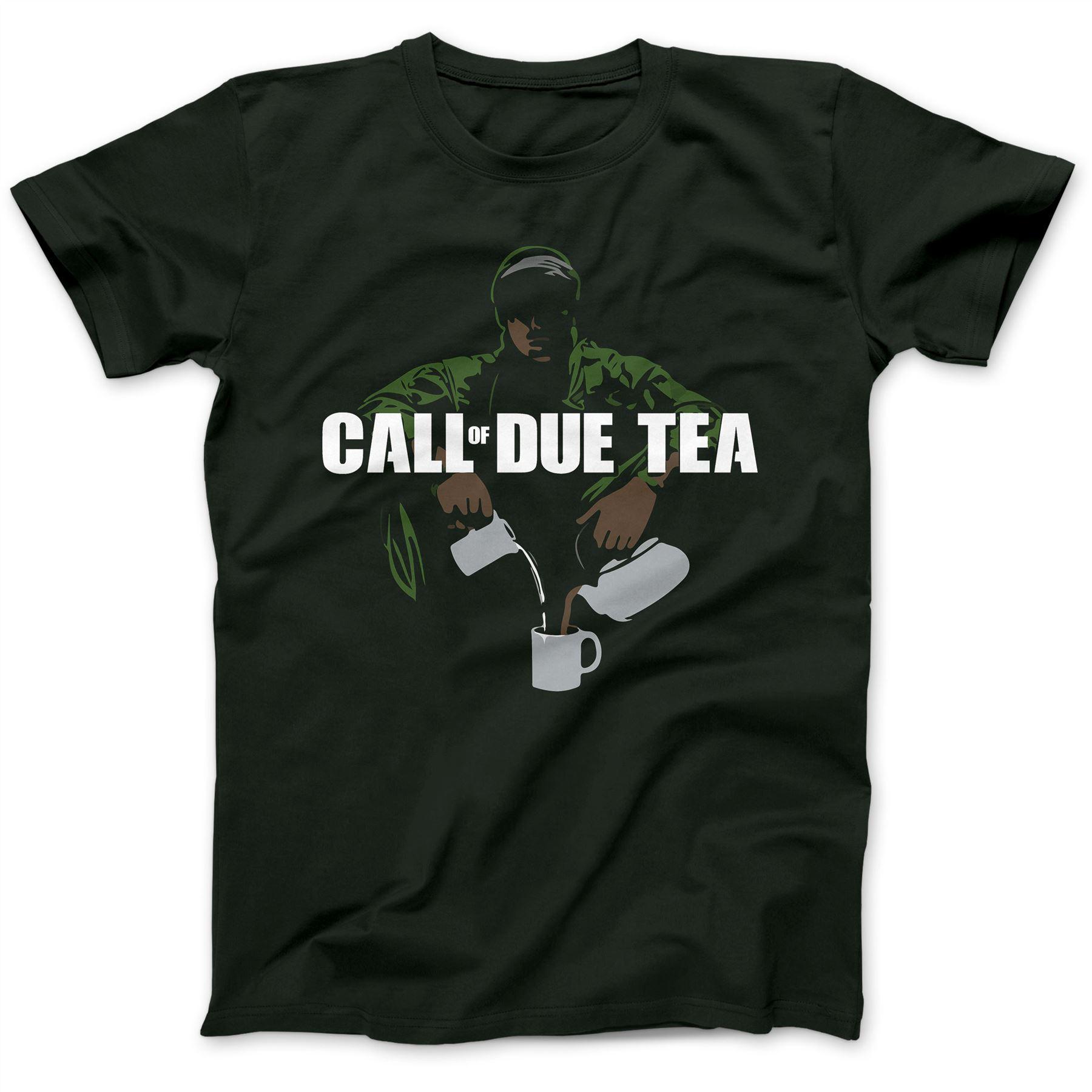 Call of Due Tea Parody T-Shirt 100% Premium Cotton Advanced Warfare Duty Short Sleeve Round Neck T Shirt Promotion
