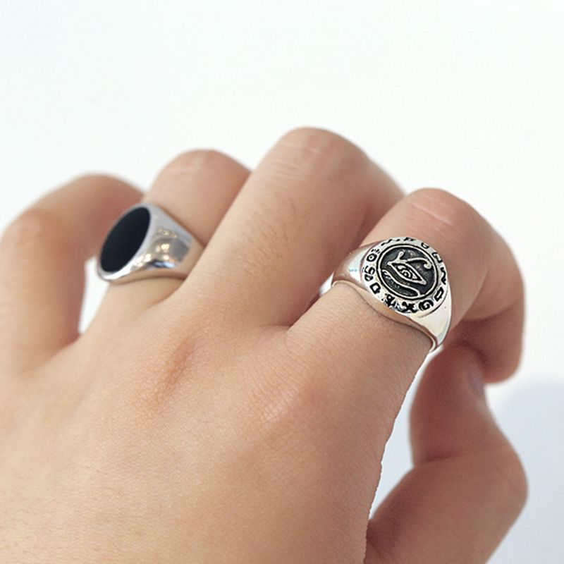 Silvology 925 Sterling Silver Eye Rings Vintage Thick Image Hieroglyphics Industrial Style Rings For Women 2019 Creative Jewelry