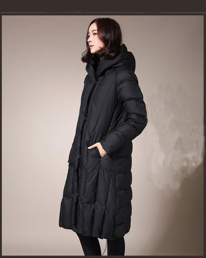 Grandi dimensioni new casuale incappucciato delle donne giacche invernali lungo tratto era sottile inverno freddo essenziale parka
