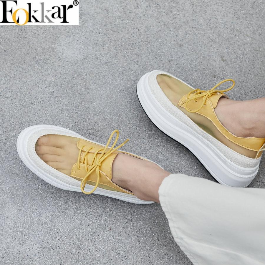 Eokkar 2019 bout fermé talons hauts femmes Mules Transparent à lacets dames pompes creux compensées talons plate-forme chaussures taille 34-39