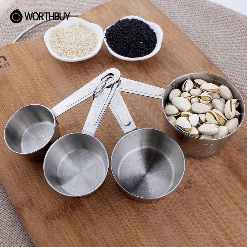Worthbuy 4 unids/set taza de medir de acero inoxidable de cocina conjuntos de he