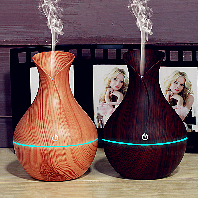 GRTCO USB Aroma Essential Oil Diffuser Ultrasonic Air Humidifier with Wood Grain LED Lights Aroma Diffuser for Home Office kbaybo aroma essential oil diffuser ultrasonic air humidifier with wood grain electric led lights aroma diffuser for home