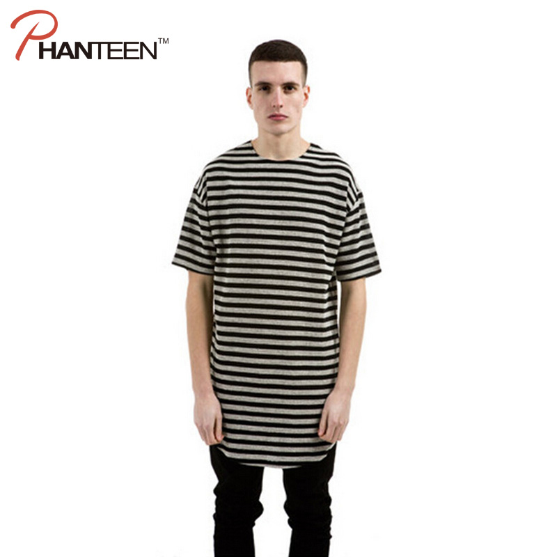 Phanteen Kanye Barat Style Man T Shirt Lengan Pendek Bergaris T-shirt Katun  Busur Hem bc7fdf17d6