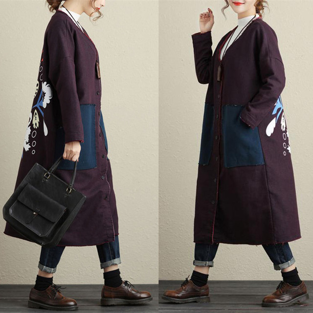 Free Shipping 2018 New Fashion Cotton Long Coat For Women Plus Size Loose Ladies Outerwear Long Sleeve Dresses Single-breasted