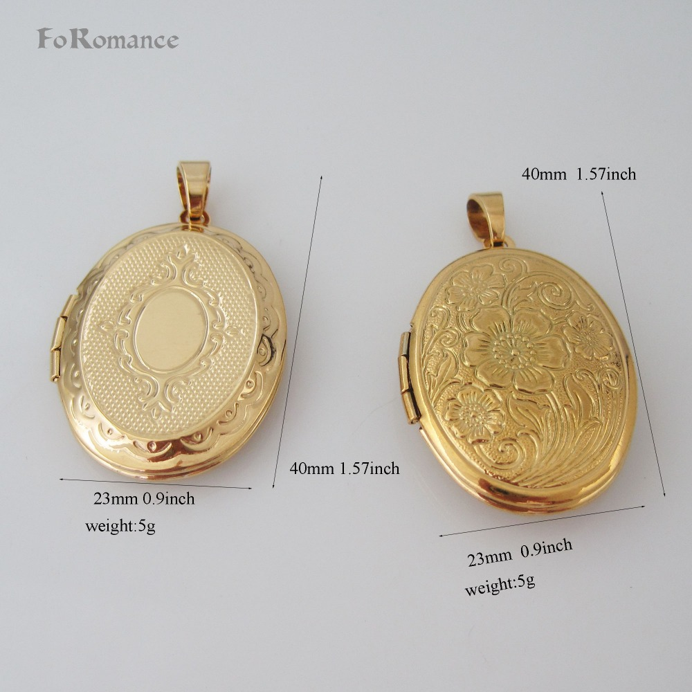 """ORDER 10$ GET TRACKING SHIPPING / YELLOW GOLD GP 18"""" NECKLACE TWO STYLES OVAL FLOWER CARVED CAN BE OPENED HANGS 1.57"""" PENDANT"""