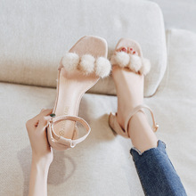 Summer 2019 New Plush High-heeled Mature Working Womens Sandals buckles Thick with 6cm 34-43 size A variety of styles pu