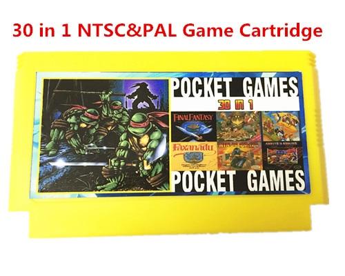 30 in 1 NTSC & PAL 8bit FC60Pins Cartridge Game Tidak ada pengulangan, Earthbound, Final Fantasy123, Faxanadu, TheZeldaI & II, Zen
