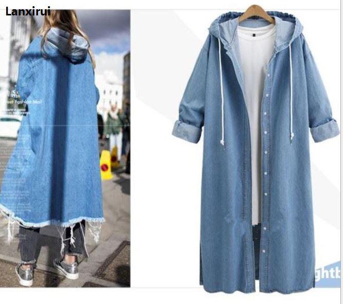 Autumn Hooded Denim   Jacket   For Women Casual Jeans   Jacket   Holes Vintage Harajuku Coat Female loose Streetwear   Basic   Coats