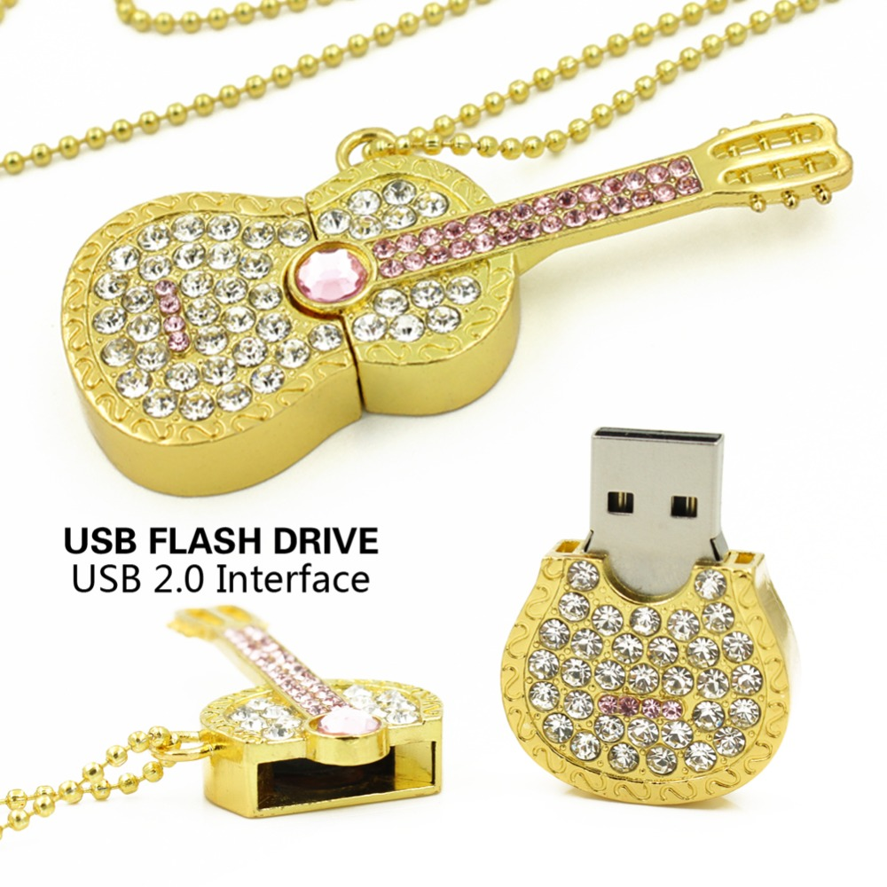Colorful Diamond USB Flash Drive 8GB 16GB Pen Drive 32GB Pendrive U Disk Gold Silver Crystal Guitar Memory stick Gift festoon 42mm 6w 540lm 12 smd 5630 led white light car reading lamp license plate light 12v page 5