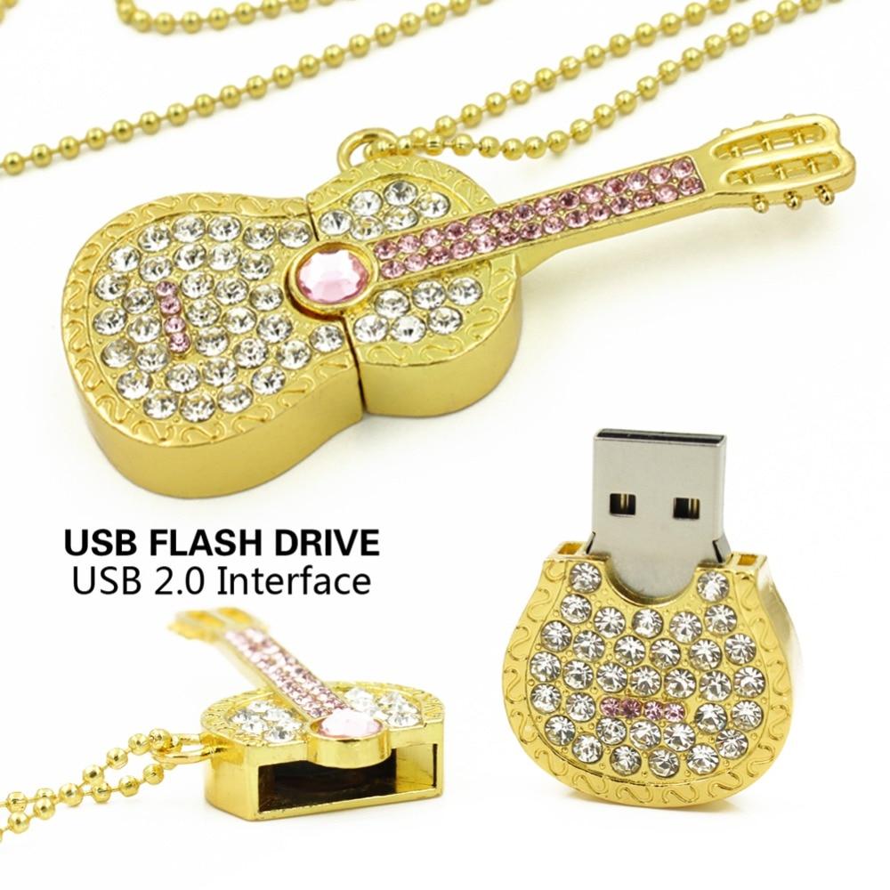 Colorful Diamond USB Flash Drive 8GB 16GB Pen Drive 32GB Pendrive U Disk Gold Silver Crystal Guitar Memory Stick  Gift