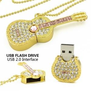 Красочный алмазный USB флеш-накопитель 8 ГБ 16 ГБ флеш-накопитель 32 Гб Флешка U диск Золотой Серебряный Гитара с отделкой кристаллами Memory stick по...