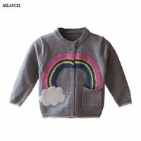 Milancel 2017 New Autumn Girls Sweater Long Sleeve Kids Sweaters Casual Outerwear For Girls Rainbow Appliques