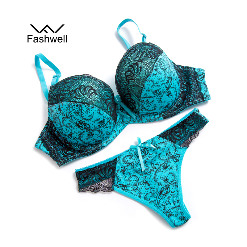 Fashwell Sexy Push Up Lace Women Underwear Panty Set Set Intimates Embroidery Floral Women Bra Brief Sets