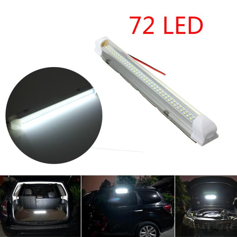 Car-styling 1x 12V 72 LED Car Interior White Strip Lights Bar Lamp Van Caravan ON OFF Switch TD811 Dropship car styling 7 color led strip under car tube underglow underbody system neon lights kit ma8 levert dropship
