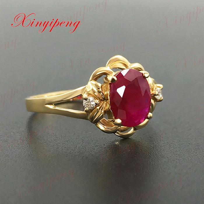 18 Karat Gold eingelegten natürlichen Rubinring Frauen Diamant A - Edlen Schmuck - Foto 4