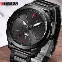 Relogio Masculino Curren Mens Watches Top Brand Luxury Black Stainless Steel Quartz Watch Men Casual Sport