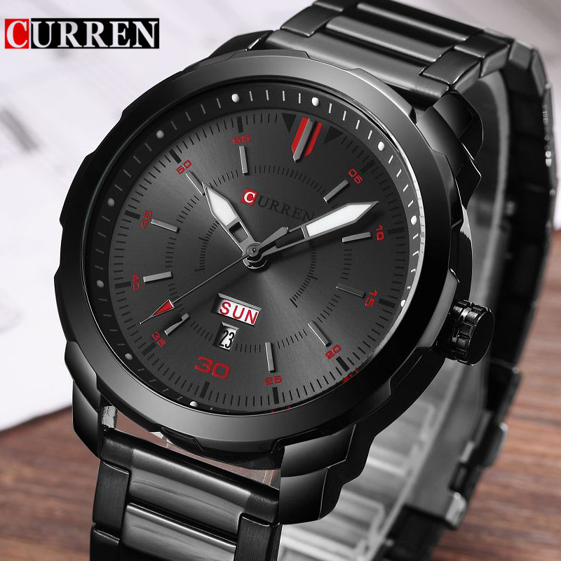 Relogio Masculino Curren Mens Watches Top Brand Luxury Black Stainless Steel Quartz Watch Men Casual Sport Clock Male Wristwatch mens watch top luxury brand fashion hollow clock male casual sport wristwatch men pirate skull style quartz watch reloj homber