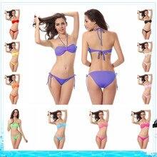 2016 Solid Swimwear Sexy bikini swim suit push up 11 colors Women Sexy bikinis brazilian Chest pad Set Swimsuit beach wear cheap