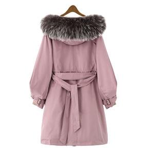 Image 3 - Winter Jacket Women Brand 2020 Long Parka Natural Raccoon Fox Fur Collar Hooded Real Fur Coat Female Warm Snow Coats