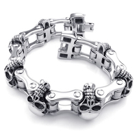 New Arrive Mens Cool Jewelry Gothic Silver Stainless Steel Skull Heavy Motor Biker Bracelet