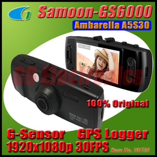 Original GS6000 Ambarella A5S30 Chipest FULL HD 1920x1080P 30FPS Dashboard Car Camera Video Recorder DVR CAM GPS Logger G-sensor