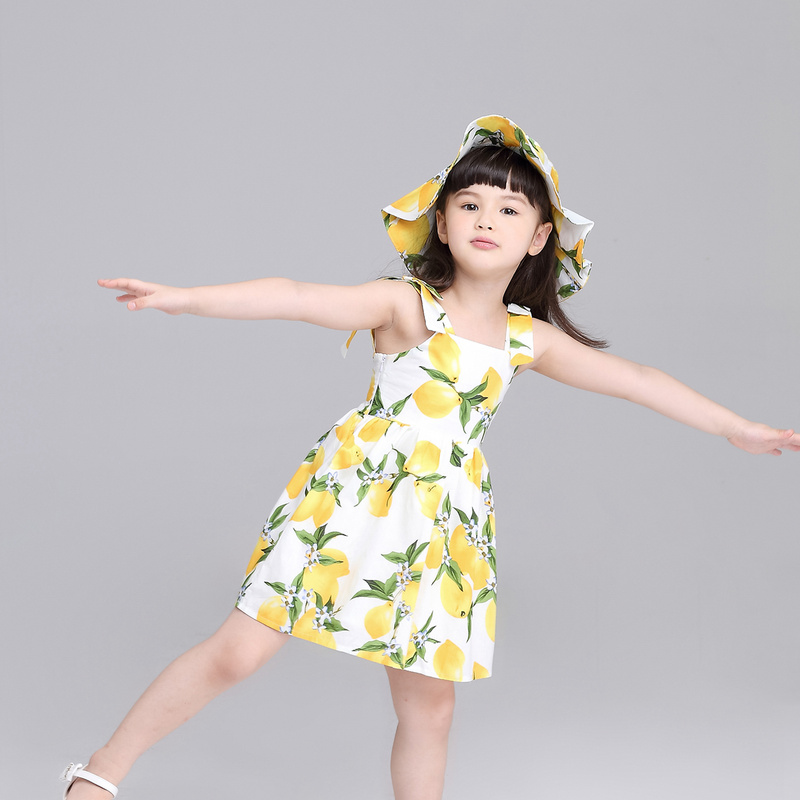 2af1848c71 Girls Summer Dress Floral Kids Clothes Cute Children Princess Lemon ...