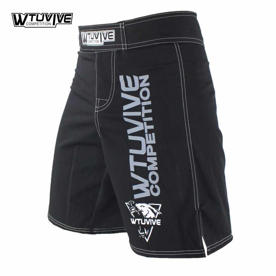 Wtuvive Hitam Pria Mma Tinju Batang Muay Thai Celana Pendek Sanda Fight Wear dengan Harga Murah Seni Bela Diri Campuran Kickboxing Tiger Muay thai
