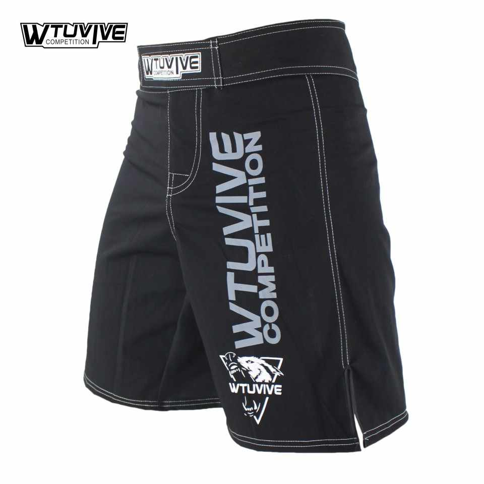 Wtuvive preto masculino mma boxing trunks muay thai luta shorts sanda luta usar barato artes marciais misturadas kickboxing tigre muay thai