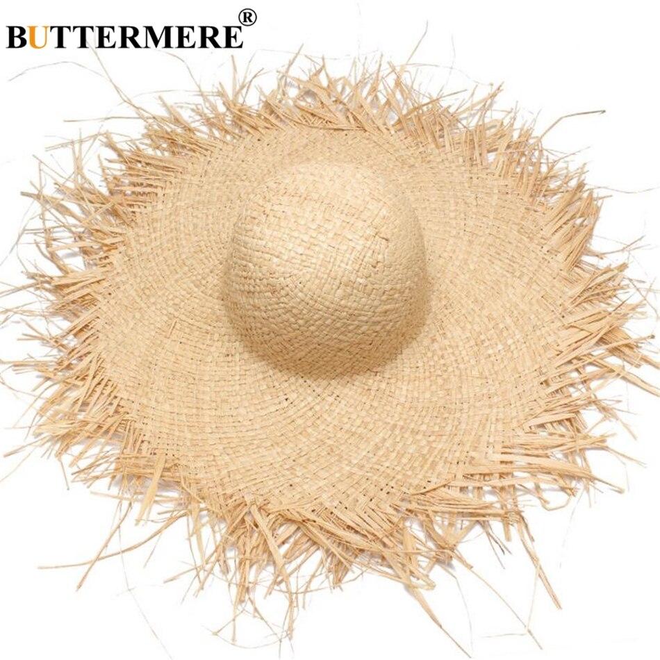 9b6f61d6f47 BUTTERMERE Sun Hat With A Wide Brim Women Summer Ladies Raffia Straw Hat  Fringe Fashion Women S Beach Hats Gorra Hombre-in Sun Hats from Apparel  Accessories ...