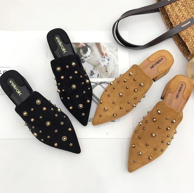 Black Shoes Women House Slippers Ladies Mules Block Heel Slides Women Rivets Shoes Ladies Pointed Toe Shoes Female Slippers