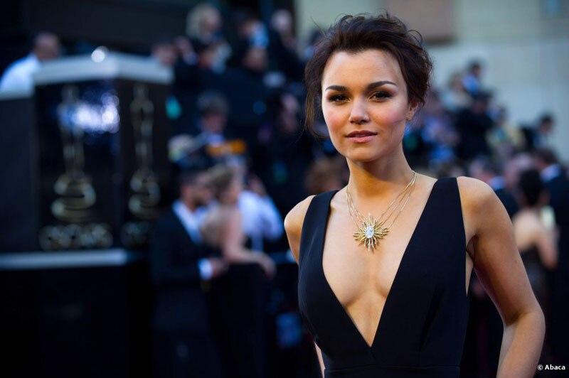 01403fd97d1387 Elie Saab Brand Evening Dress Custome Samantha Barks Black Plunging V neck  Satin A line Celebrity Dresses Oscars 2014 Red Carpet-in Celebrity-Inspired  ...