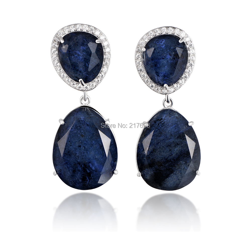 DORMITH real 925 sterling silver gemstone earrings luxury natural blue sapphire drop earrings for women fine