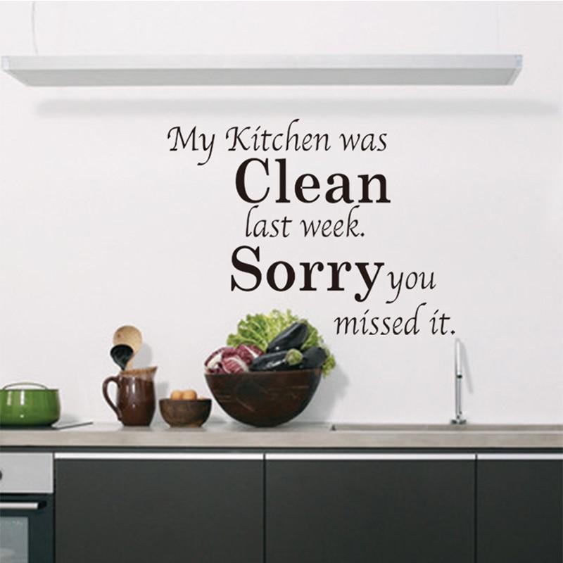 My Kitchen Was Clean Quote Word Kitchen Wall Sticker Decor Black ...