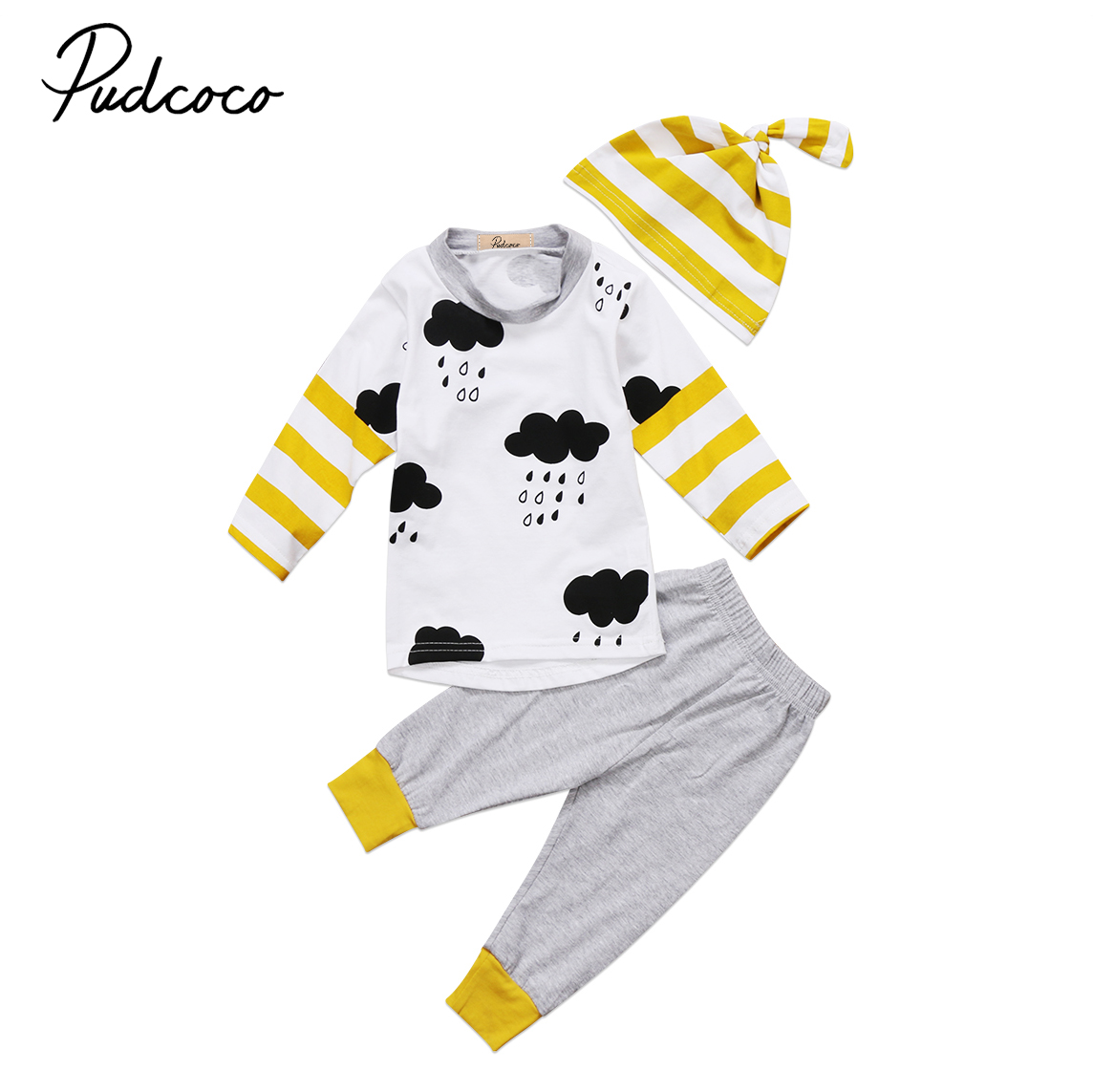 Cute Newborn Kids Baby Boy Girl 3Pcs Stripe Print Outfits Tops T shirt Long Pants Hat Clothes Set M