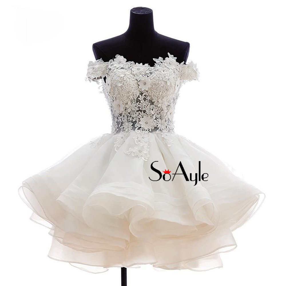 SoAyle Off the Shoulder Ball Gown Ruffles Organza Homecoming Dresses for  Party Little White Dress Pretty Gowns for Girl Teenager 695ff9c39345