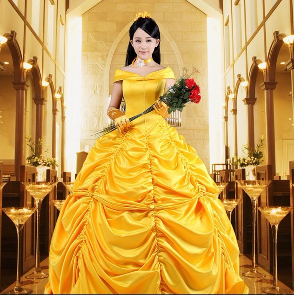 Dress + Gloves OBEEII Adult Beauty and The Beast Bell Princess Costume Women Fancy Dress Party Costume COS Belle Princess Photo Photography Carnival Halloween Costume(