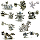 1Pcs Surgical Steel Crystal Different Flower Ear Studs Cartilage Earrings Tragus Helix Piercing 16 Gauges Ear Studs Lip Rings