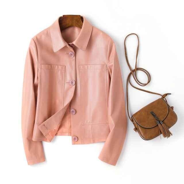 Женская куртка из натуральной кожи, 100% натуральная овчина, тонкая короткая куртка, верхняя одежда для мотоциклистов, пальто для женщин, большие размеры