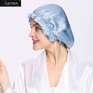 Image 3 - LilySilk Silk Night Sleep Cap Silk Cap for Sleeping Women Flounced Brand Solid 19 Momme Elegant Hair Care Accessories