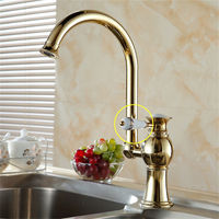 Faucet Luxury Golden Brass High Arch Kitchen Sink Faucets Single Handle Swivel Spout Wash Basin Mixer Water Tap Kitchen Faucets