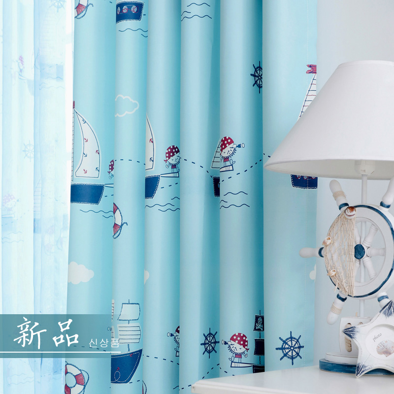 Cartoon Blackout Window Curtains For Children Room Baby Thick Curtain  Fabrics Blue Boys Drapes Kids Room