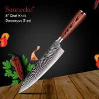 """SUNNECKO 8 """"pollici Coltello da Chef Coltelli Da Cucina Giapponese 73-Strato di Damasco VG10 In Acciaio Sharp Lama In Legno Pakka maniglia Utensili Da Taglio"""