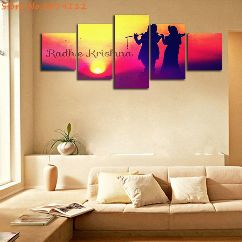 Radhe Krishna Sunset Indian Lord Abstract Painting Canvas Art ...