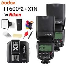цена на 2X Godox TT600 2.4G Wireless Camera Flash Speedlite + X1T-N Transmitter Flash Trigger for NIKON D5300 D3400 D7200 D90 D3300 D750