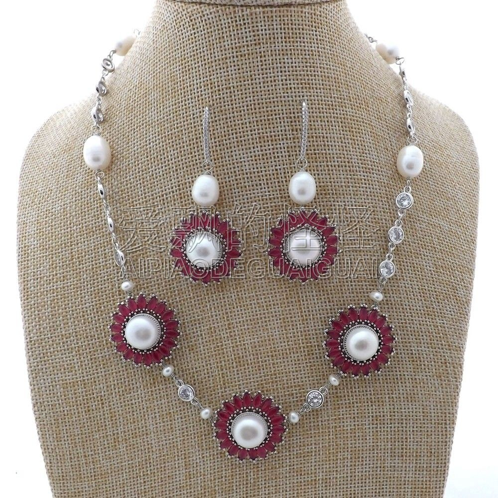 S011904 19'' White Pearl Chain CZ Pave Flower Necklace Earrings Set
