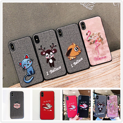 Sewing SFor Case iPhone XS case Max XR case x embroidery case For iPhone 8 7 Plus Lovely animal Cloth Coque For iPhone 6 6S Dog 1